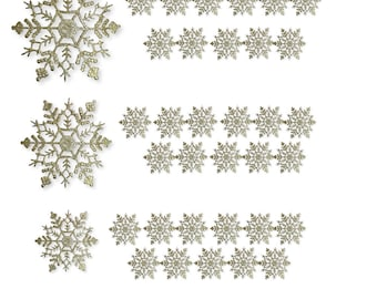 Gold Snowflakes - 36 Asst Sized Snowflake Ornaments - 12 each of 4 inch - 5 inch - 6 inch - Gold Glitter Snowflake 3539-4