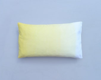 Sunshine yellow ombre cushion cover. Dip dyed pillow cover.