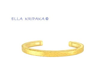 Solid 18k Gold 18g Width 5mm Thickness 3mm Shiny Sizable Fine Gold Bracelet 24k Gold Thick Borders Cuff Ancient Rome Hammered Women Men
