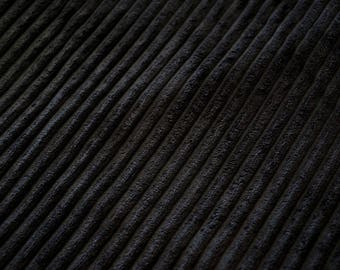 Fabric velvet thick ribs deep black