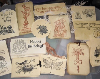 Over 100 Tea Stained Gift Tags........gifts....birthday...Lot #1