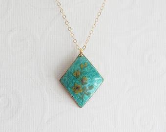 Tiny Cloisonne Necklace Vintage Turquoise Necklace Turquoise Pendant Layered Necklace Vintage Jewelry Turquoise Cloisonne Necklace