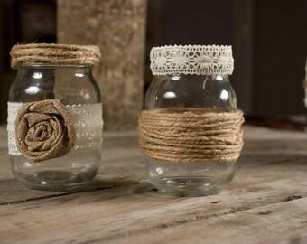 Set of 2 Pint Sized Mason Jar Country Wedding Twine Burlap Lace