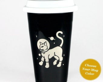 Astro Cat Travel Mug - insulated lidded coffee cup