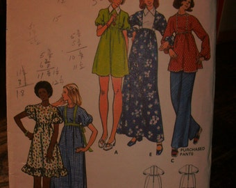 Butterick Printed Pattern ~ Butterick 3132 ~ Size 16 Bust 38 ~ 1970s Misses' Dress and Tunic