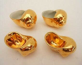 Limoges Gold Porcelain Escargot Salt Cellar French Vintage Lot of 4 (C311)