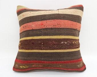 16x16 Kilim Pillow, Striped Pillow,  Home Decor Pillow, Throw Pillows, Turkish Pillow, Colorful Pillow,16x16 Kilim Pillow Cover SP4040-4811