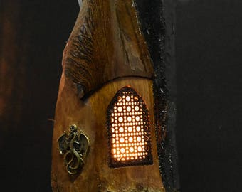 Hand Carved Cottonwood Bark Night light Gnome / fairy home