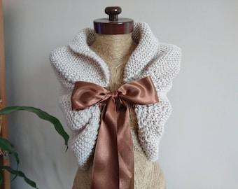 bridal cover up, wedding shawl, Wedding cover up, bolero, beige, white, wedding bolero, winter wedding wrap, rustic wedding, knit wrap,