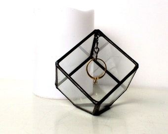 Clear Glass Ring Box / Jewelry Box / Wedding Gift / Engagement Ring Box / Jewelry Accent Box