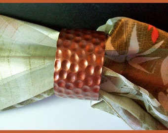 Cuff Bracelet Polymer Clay Faux Hammered Copper 1 1/2 in   Metal Look Magnetic Clasp
