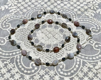 Handmade Sterling Silver Necklace with Hematite and Striped Agate Beads