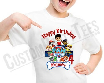 Personalized Custom Paw Patrol Birthday Shirt Add Name & AGE GIFT FAVORS
