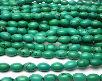 Rice Turquoise Beads, Rice Shape Green Turquoise Strands, Turquoise Magnesite Beads, 9*6mm, 12*8mm Puffed Oval Gemstone Beads Supplies