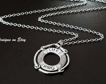 Life Ring Life Guard Swim Mom Swimming Gift Necklace