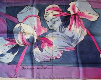 New collectionhand painted silk scarfpainted shawlrose hand painted silkpainted by hand silk scarfblue flowerspainted on silk flowerswoman silk scarfsilk accessorypainted by gabyga mightylinksfo
