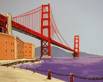 """Golden Gate Bridge view from Fort Point, San Francisco California,Original Wall Art painting on canvas 18x24"""". Free Shipping in USA."""
