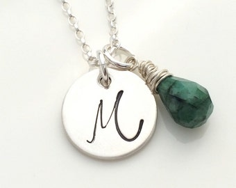 Emerald necklace, initial pendant, May birthstone necklace, 20th anniversary gift, 35th anniversary gift, personalised monogram necklace