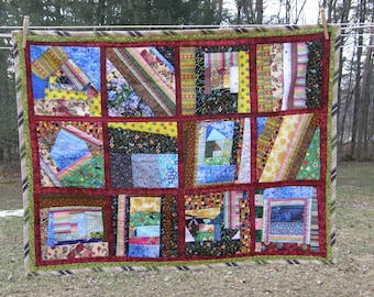 Free Form Patchwork Lap Quilt with Bird Print Backing