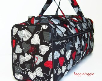 Knit Hearts Knitting Bag, Knitting Project Bag, Black Grey Red Crochet Project Bags, Mothers Day Gift for Knitters, UK.