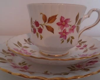 Royal Stafford Tea cup Trio, Saucer, Plate, Flower Fragrance Design, Tea Cup For One, Afternoon Bone China, Afternoon Tea, Vintage
