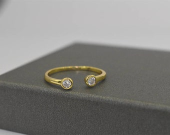 Open Diamond Ring, Two Birthstone Ring, Personalized Ring, Dual Birthstone Ring, Promise Ring, Gemstone Ring, 18k Gold Vermeil