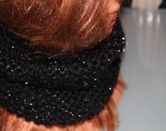 black and silver cowl snood scarf