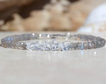 Herkimer Diamond Labradorite Gemstone Bracelet, April Birthstone, Gemstone Bracelet, Beaded Bracelet, Birthday Gift For Her, Under 50