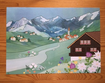 A4 Switzerland Landscape Illustration Print
