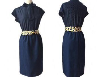 Vintage 60s navy blue polka dot dress/ ascot tie shirt dress/ office dress/ blue polka dot day dress