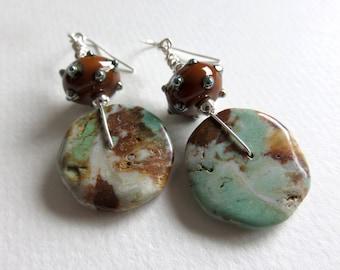 Earrings, Turquoise Earrings, Lampwork Earrings, Rustic Earrings, Boho Earrings, Turquoise Disc Earrings