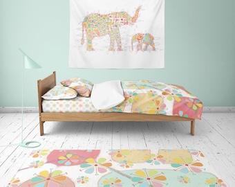 ELEPHANT tapestry baby girl Nursery Tapestry kids Wall art Tapestries Large Tapestry elephant Wall art colorful bedroom art kids wall decor