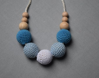 Breastfeeding Necklace Crochet Nursing Necklace  Teething necklace with crochet beads baby shower gift