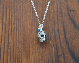 Small Flower Skull Sterling Silver Necklace