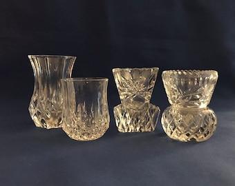 Vintage Crystal Cut Bud Vases / Vintage Small Glass Vases / Vintage Vases / Vintage Glassware / Batch of Four (4) Bud Vases