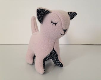 Pink and Black Halloween Plush Cat