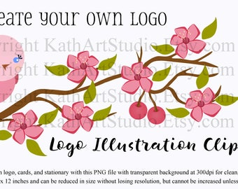Instant Download - Bird on a Cherry Tree Branch Clipart for Logos, Scrapbooking, Card Making, Personal and Commercial Use Item #108