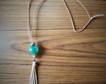 Handmade Leather Necklace with blue/green bead and leather tassel