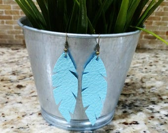 Light blue, light teal leather feather earrings
