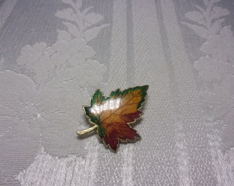 Vintage enamel leaf brooch, estate brooch