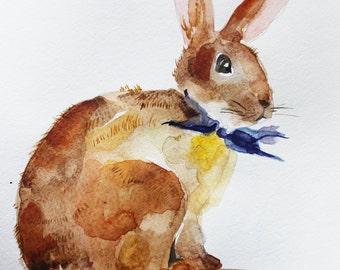 Original Watercolor Painting, Little Easter Rabbit, Hare beautiful, Hare Animal, wall decor, hare watercolor, rabbit art, Art OOAK