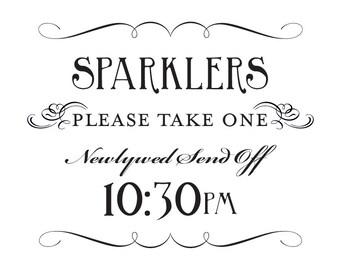 Sparkler Send Off Sign Printable 10:30pm DIY Digital File PDF Favor Signage Wedding Do it Yourself 8x10 and 5x7 Fancy