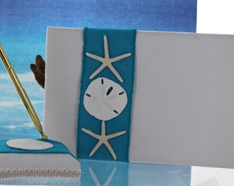 Guest Book and Pen Set with Turquoise Burlap and Starfish and Sand Dollar Center/ Beach Themed Wedding
