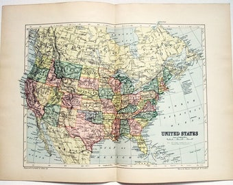 Original 1895 Map of The United States by W & A. K. Johnston. Antique