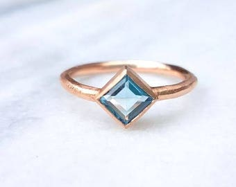 In stock-Square Blue topaz women's 10k solid rose gold rough ring, engagement ring
