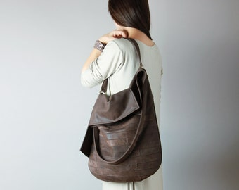 Big leather hobo bag in chocolate - leather hobo, leather tote, brown leather bag, slouchy hobo bag