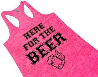 Cute Funny Women's Beer Tank Top. Here For The Beer. St. Patrick's Day Tank Top. Pub Crawl Saint Paddys Day Party Top Vest. Beer Lovers Gift