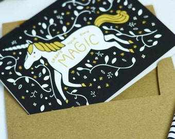 Unicorn Card, Gold Unicorn, Create Your Own Magic Card, Gold Foil Card, Celebration Card, Birthday Card For Kid, Girl Birthday Card