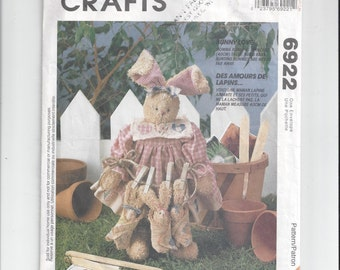 McCall's 6922 Crafts Pattern for 16 Inch Bunny Rabbit and Babies and Clothes, Bunny Love, From 1994, Homespun At Heart Designs