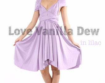 Bridesmaid Dress Infinity Dress Lilac Straight Hem Knee Length Wrap Convertible Dress Wedding Dress